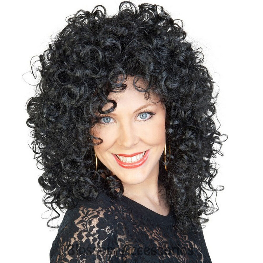 Cher Wig 80s Music Star Black Curly Perm Womens Ladies