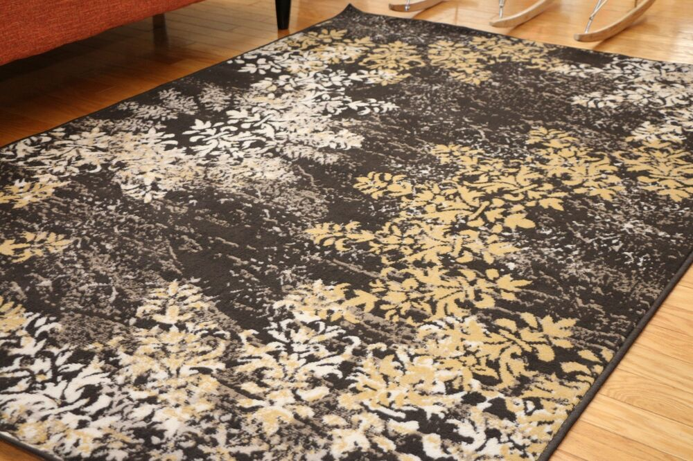 New Traditional Black Circle Floral Abstract Area Rugs