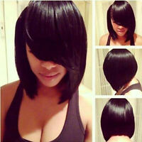 LADIES BOB STYLE SHORT WIG MEDIUM BROWN BLACK FULL WIGS HAIR COSPLAY PARTY CAP