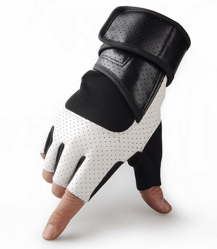 Weight Lifting Gym Gloves Training Fitness Wrist Wrap: Weight Lifting Gym Gloves Leather Strength Training Wrist