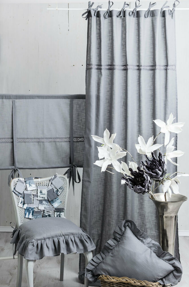 julia frost grau 2x 120x250cm gardine vorhang raffgardine landhaus shabby neu ebay. Black Bedroom Furniture Sets. Home Design Ideas