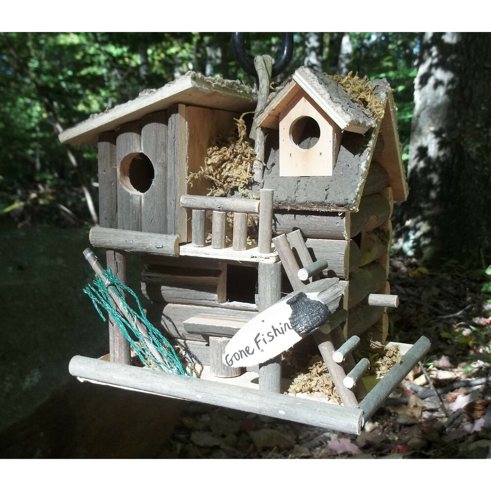 Bird House Painting Log Cabin