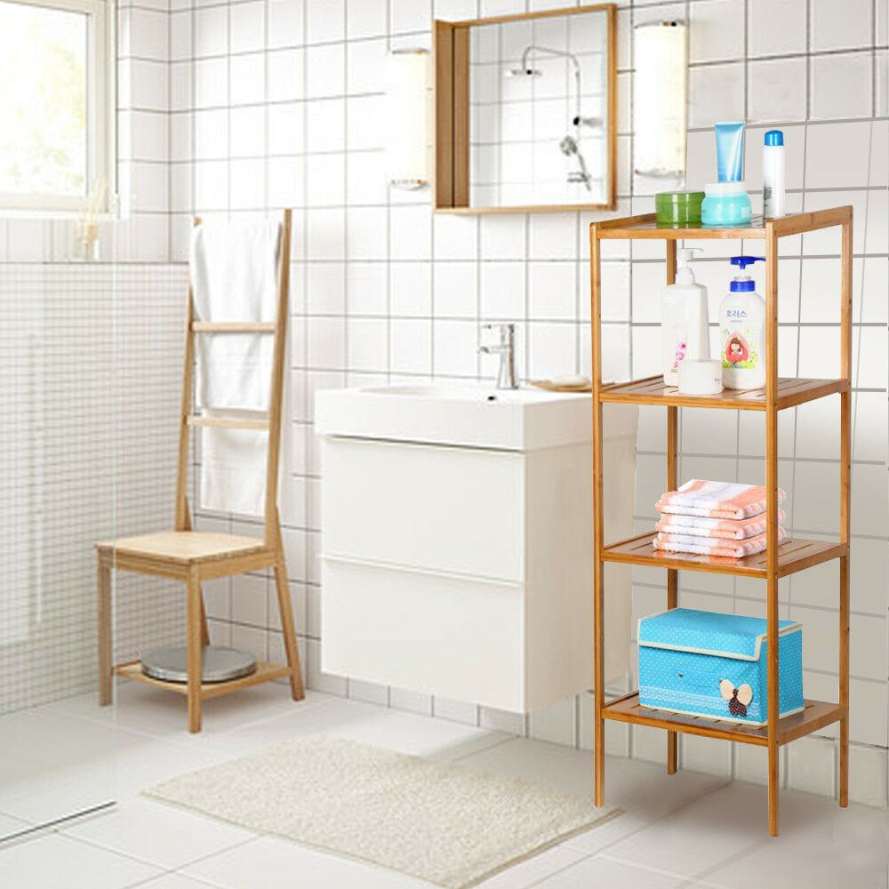 Creative Details About Bathroom Storage Bamboo Laundry Hamper With Shelves
