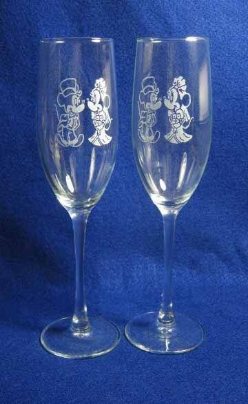 Personalized Minnie Mickey Mouse Wedding Glasses Flutes Engraved FREE EBay