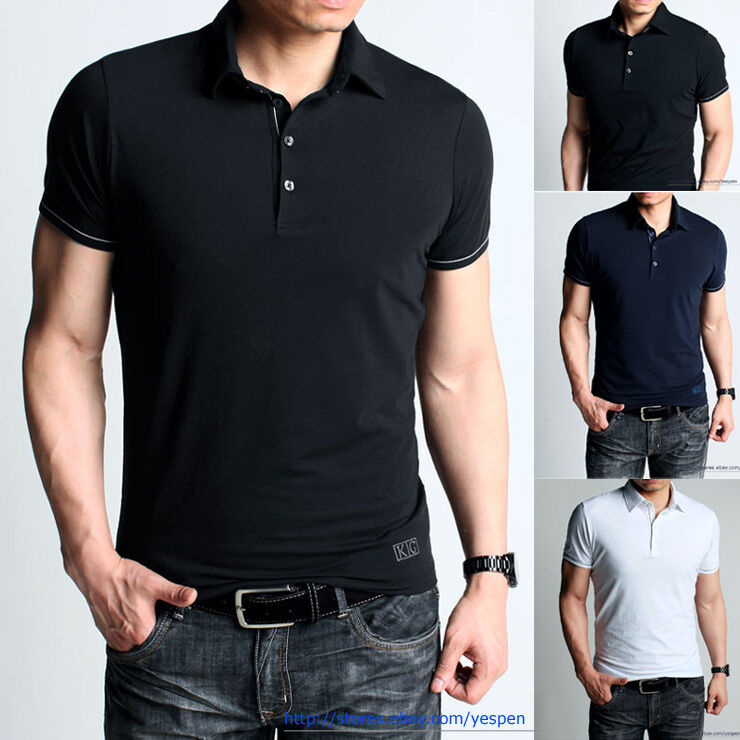 Slim fit mens t shirt polo shirts basic colored tee plain for Mens colored t shirts