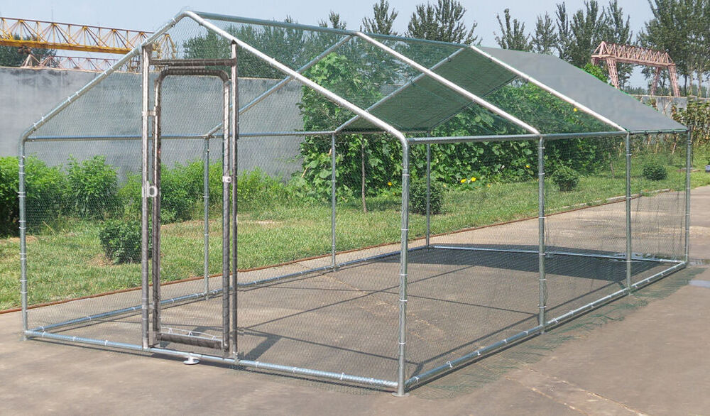 Large Metal 20x10 Ft Chicken Coop Backyard Hen House Cage
