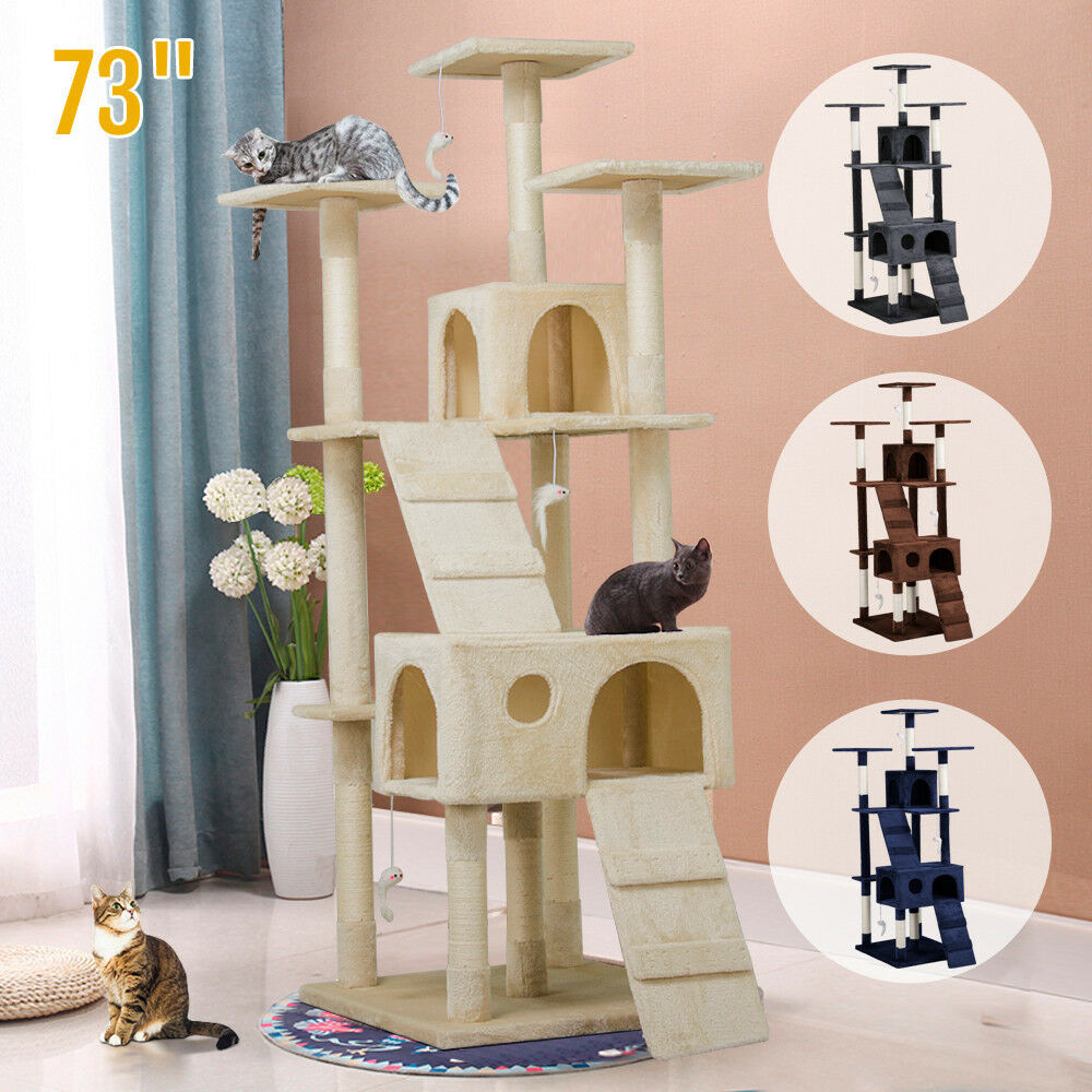 luxurious 73 cat tree play house tower condo furniture. Black Bedroom Furniture Sets. Home Design Ideas