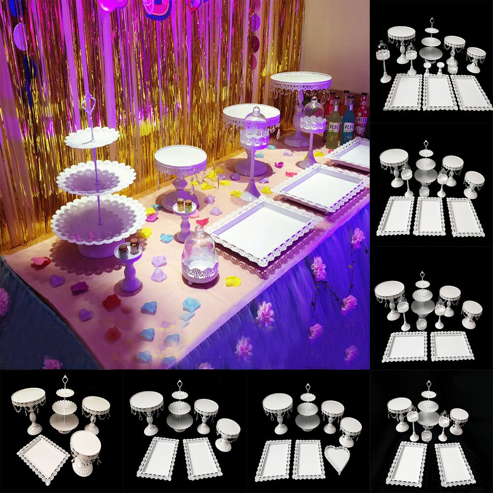 12pcs Set Crystal White Metal Cake Holder Cupcake Stand
