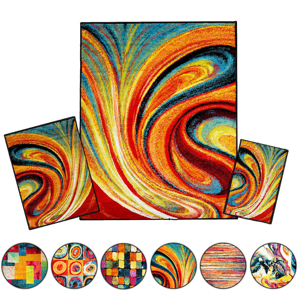 Throw Rugs Ebay: Modern Rugs 3 Piece Set Contemporary Area Rug Multi-Color