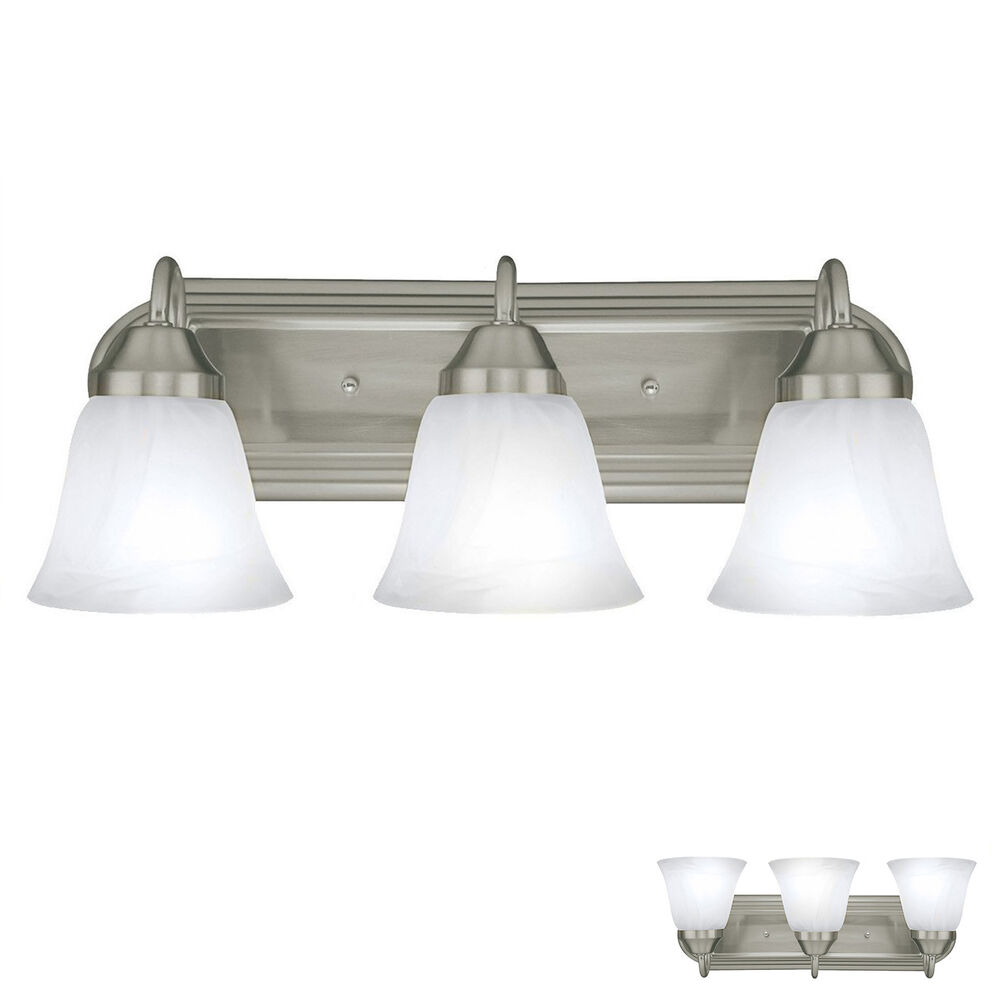 Three Light Bathroom Vanity Light: Brushed Nickel 3 Globe Bathroom Vanity Light Bar Bath Fixture, Alabaster Glass