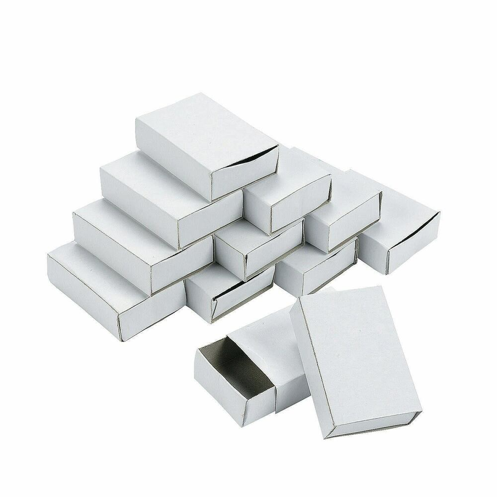 Set 50 plain white empty matchboxes with drawer for craft for Blank matchboxes for crafts