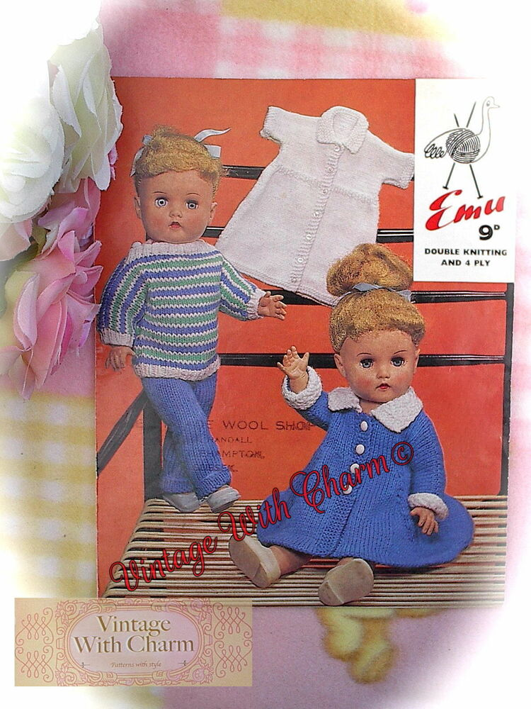 4f22a33b7 Vintage 60 s Knitting Pattern Dolls  5 Piece  Outdoor Set. To Fit A ...