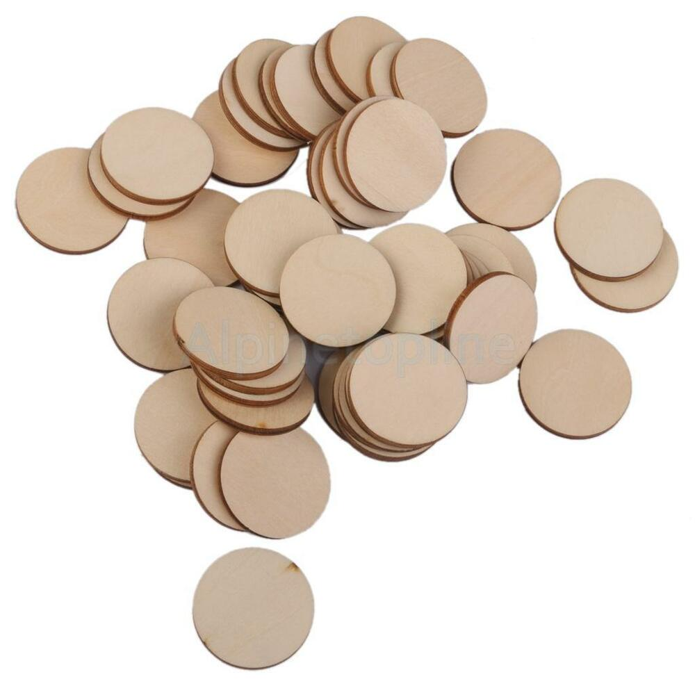 25pcs unfinished wooden round circle embellishments diy for Wood circles for crafts