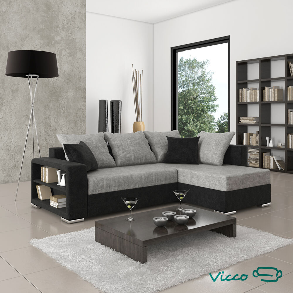 vicco sofa couch polsterecke houston schlafsofa ecksofa doppelbett schwarz grau ebay. Black Bedroom Furniture Sets. Home Design Ideas