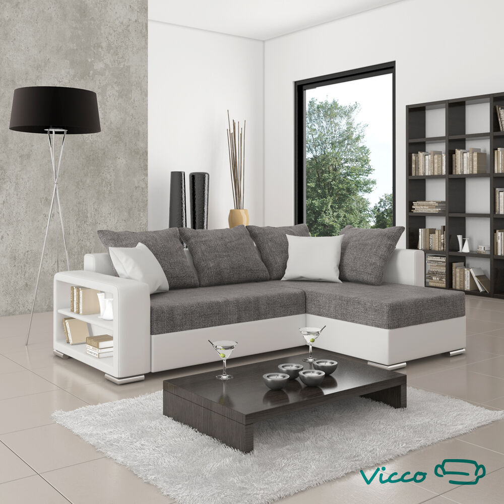 vicco sofa couch polsterecke houston schlafsofa ecksofa doppelbett wei grau ebay. Black Bedroom Furniture Sets. Home Design Ideas