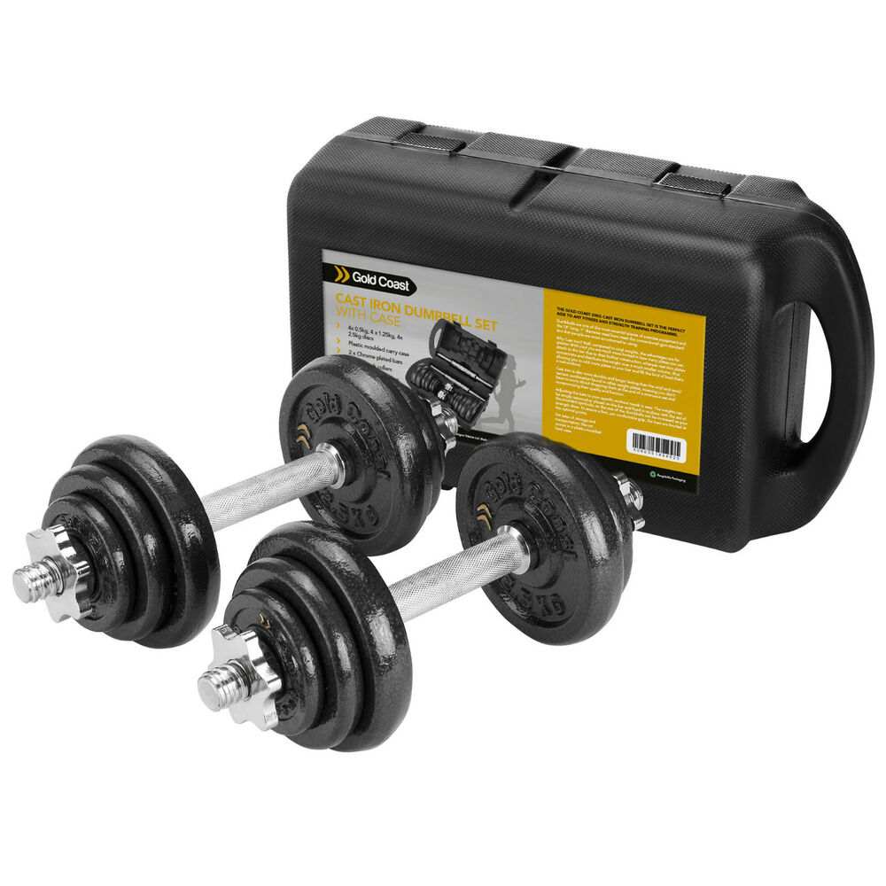 Tesco Dumbbell Set: New Gold Coast 20KG Cast Iron Dumbbell Gym Free Weights