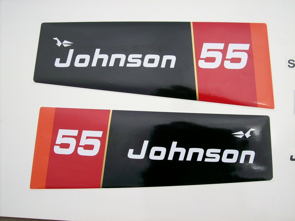 1976 johnson outboard hood decals 55 hp 2 cyl ebay for 55 johnson outboard motor