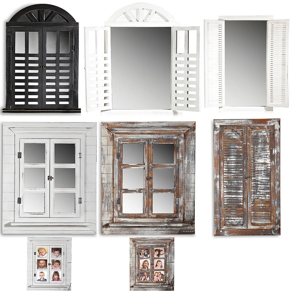wandspiegel deko spiegel fensterladen bilderrahmen shabby holz spiegel landhaus ebay. Black Bedroom Furniture Sets. Home Design Ideas