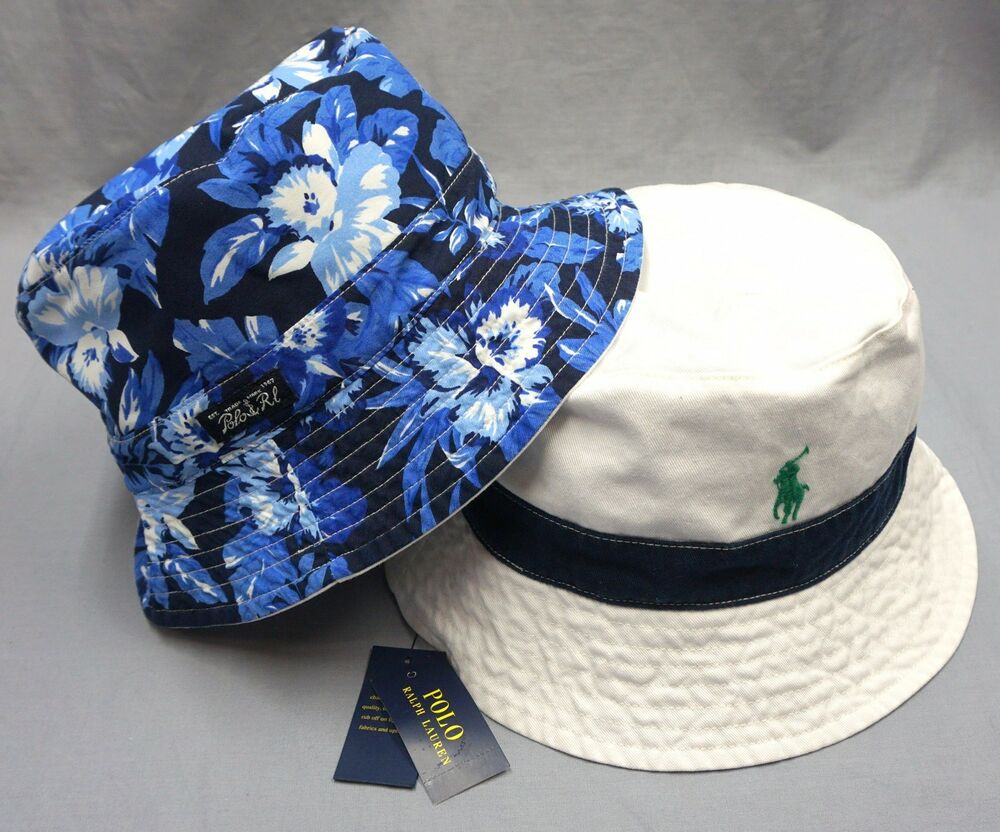 b2ac3409f47 NWT  55 POLO RALPH LAUREN REVERSIBLE BUCKET HAT CAP Mens Blue White Floral  New