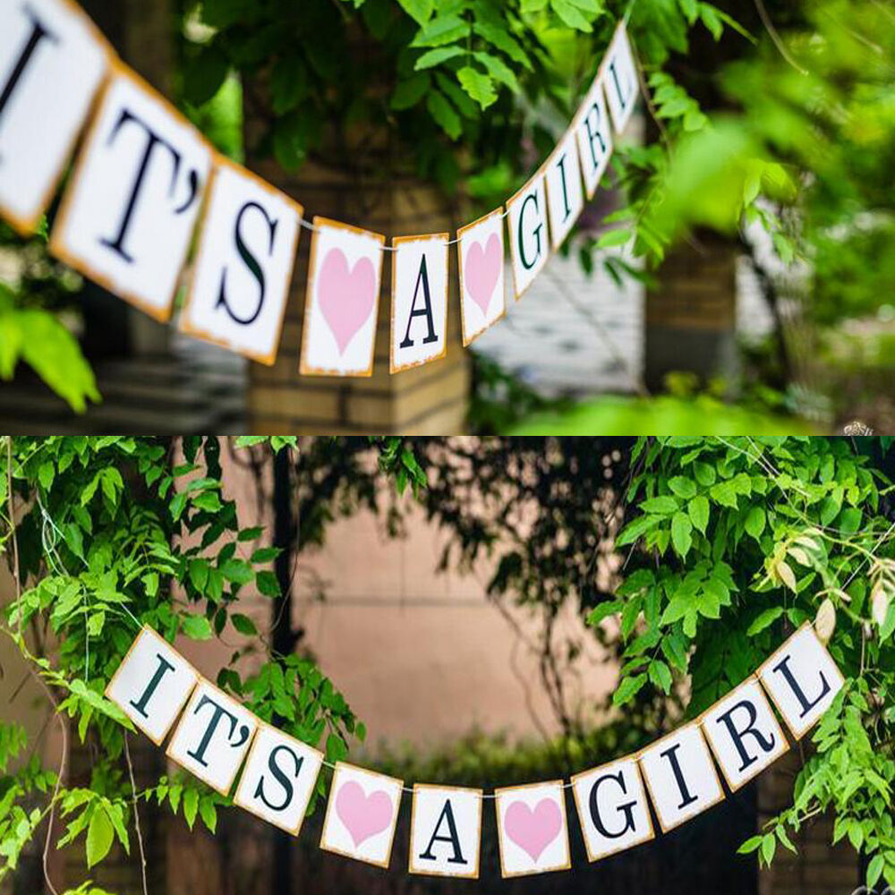 Its a boy girl paper baby shower banner garlands party for It s a girl dekoration