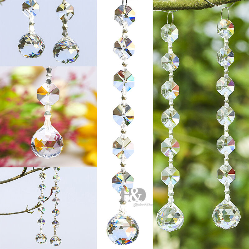 10pcs Clear Crystal Beads Chandelier Lamp Hanging Wedding
