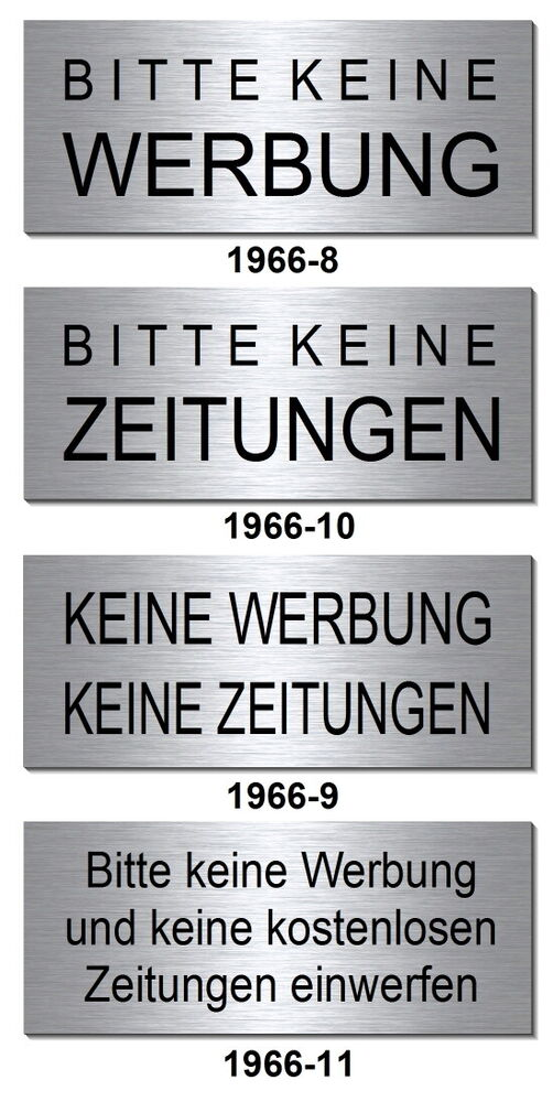 keine werbung zeitungen alu schild 60 x 25 mm briefkasten. Black Bedroom Furniture Sets. Home Design Ideas