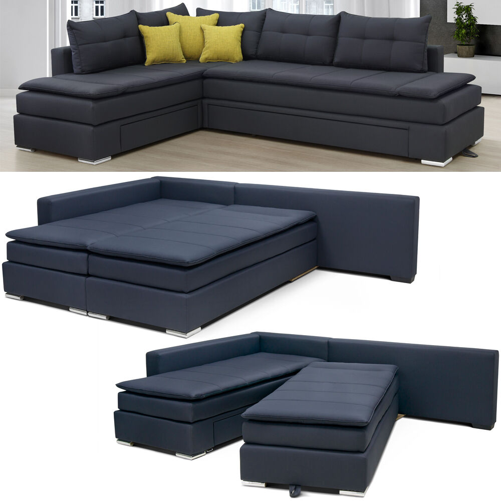 vicco night day boxspringsofa 2in1 holtelbett boxspringbett bett sofa ecksofa ebay. Black Bedroom Furniture Sets. Home Design Ideas