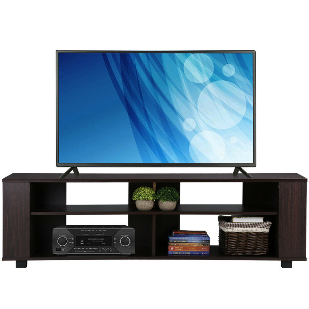Black tv stand entertainment media center console storage for Tv console with storage