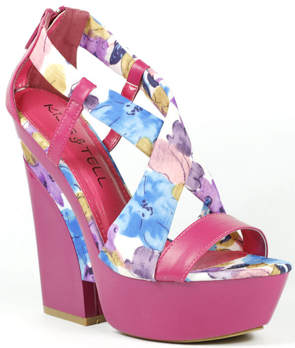 ff2ecf0ff7a3 Details about Hot Pink Floral Criss Cross Strappy Open Toe High Chunky Heel  Platform Sandal