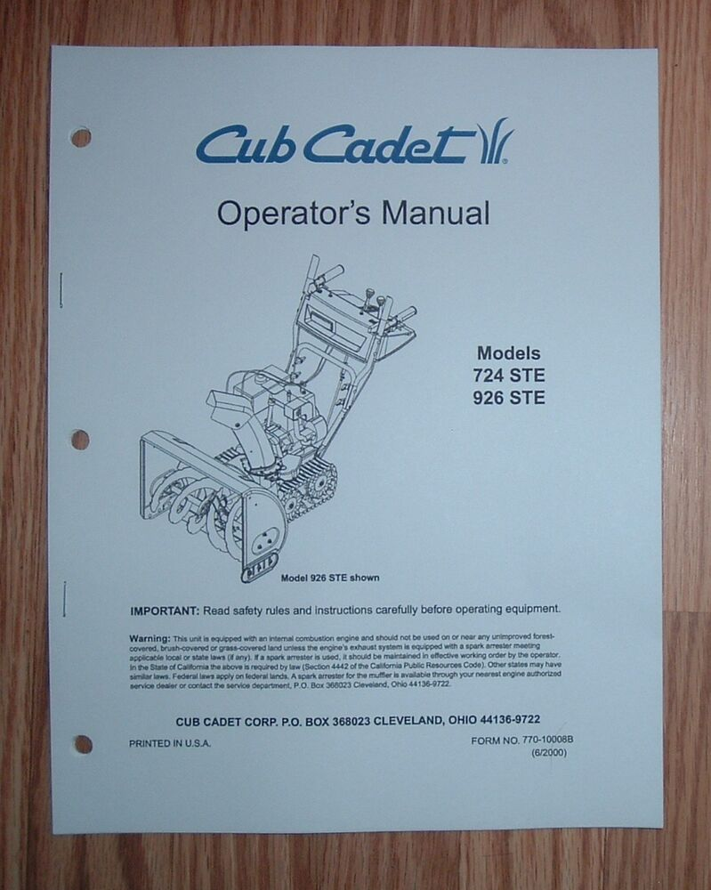 CUB CADET 724 STE SNOW THROWER OPERATOR'S MANUAL WITH ILLUSTRATED PARTS  LIST | eBay
