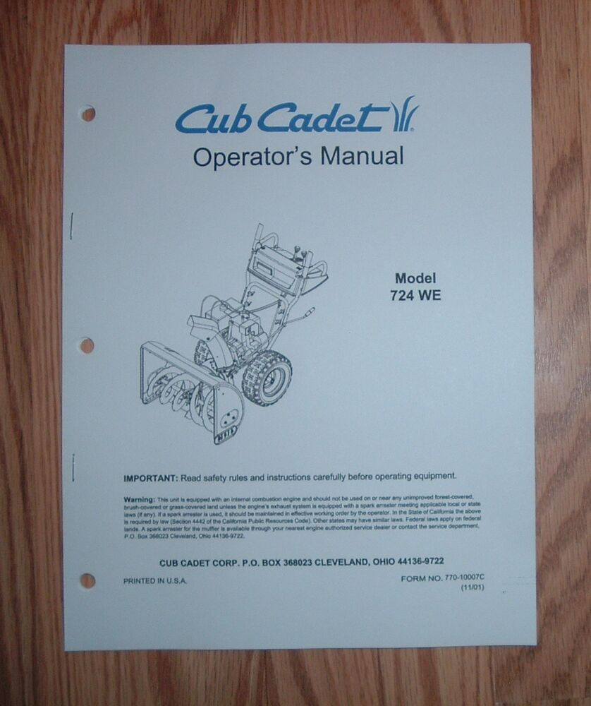 CUB CADET 724 WE SNOW THROWER OPERATOR'S MANUAL WITH ILLUSTRATED PARTS LIST  | eBay