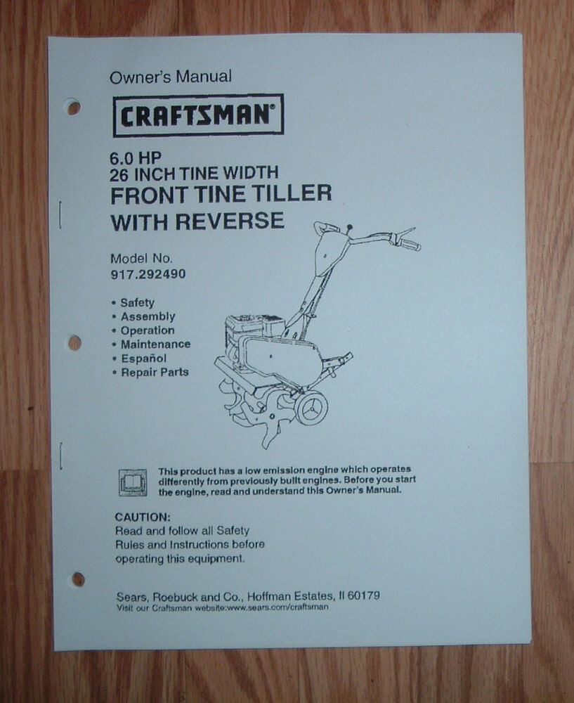 Craftsman 917 292490 Tiller Owners Manual With Illustrated