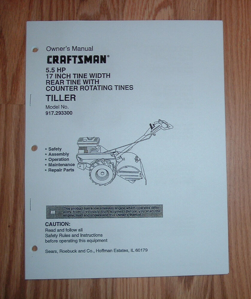 Craftsman 917 293300 Tiller Owners Manual With Illustrated