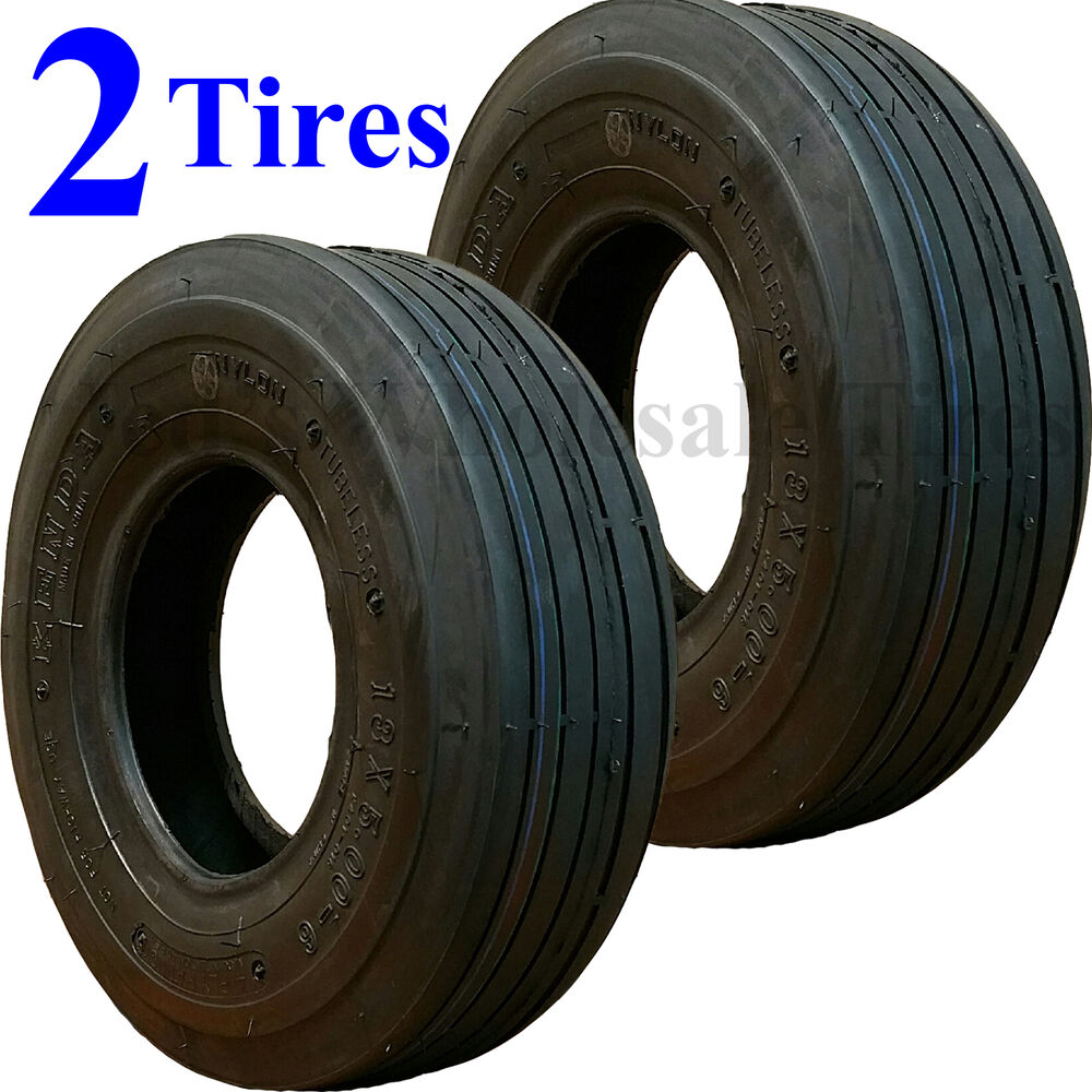 Two 13x5 00 6 13 500 6 Riding Mower Tires Fits Some John