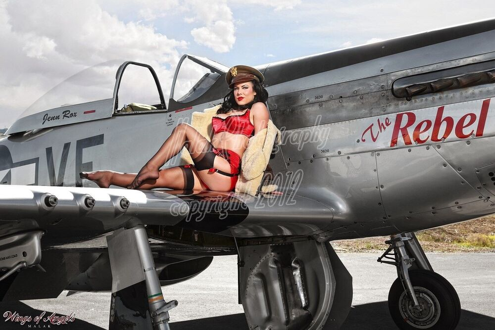 wings of angels malak pin up jen rox the rebel iv wwii p 51d mustang ebay. Black Bedroom Furniture Sets. Home Design Ideas