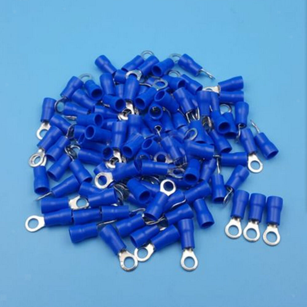 Ring Terminal Connectors : Blue insulated ring crimp connector terminals for
