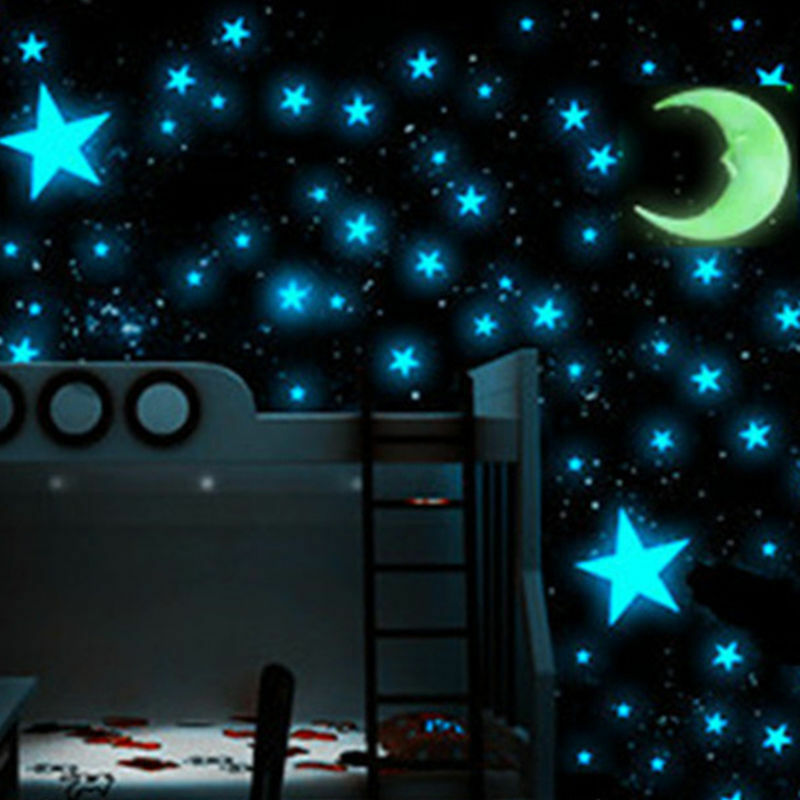 100pcs glow in the dark luminous 3d stars moon sticker for Stars decorations for home