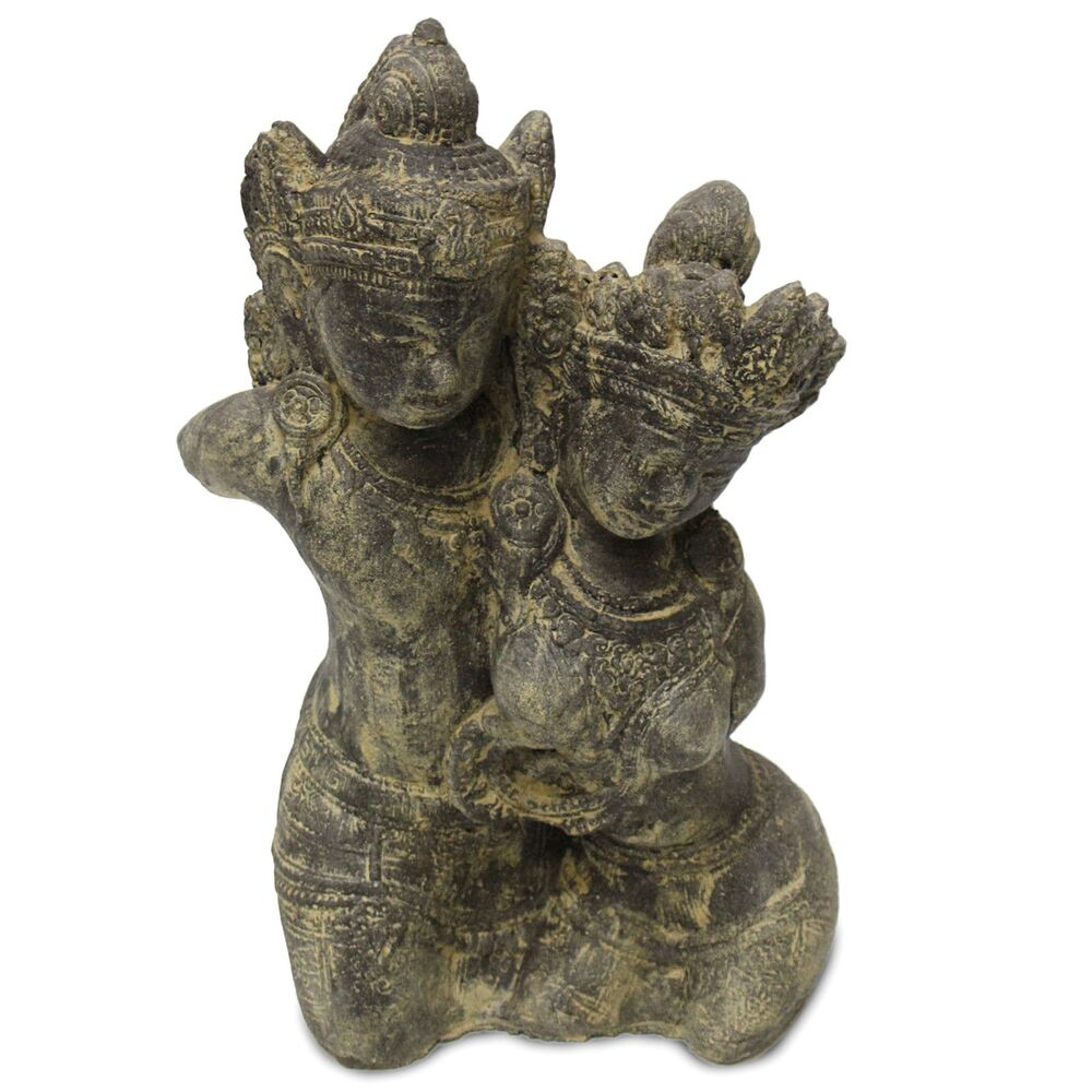 rama sita figur skulptur stein gott buddha statue lavasand bali garten deko 43cm ebay. Black Bedroom Furniture Sets. Home Design Ideas