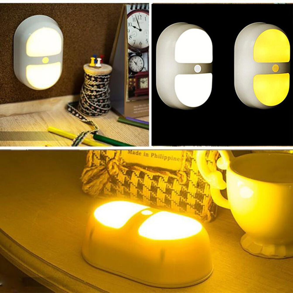 Mini Night Light Motion Activated Wall Lights 10 LED Dual ...