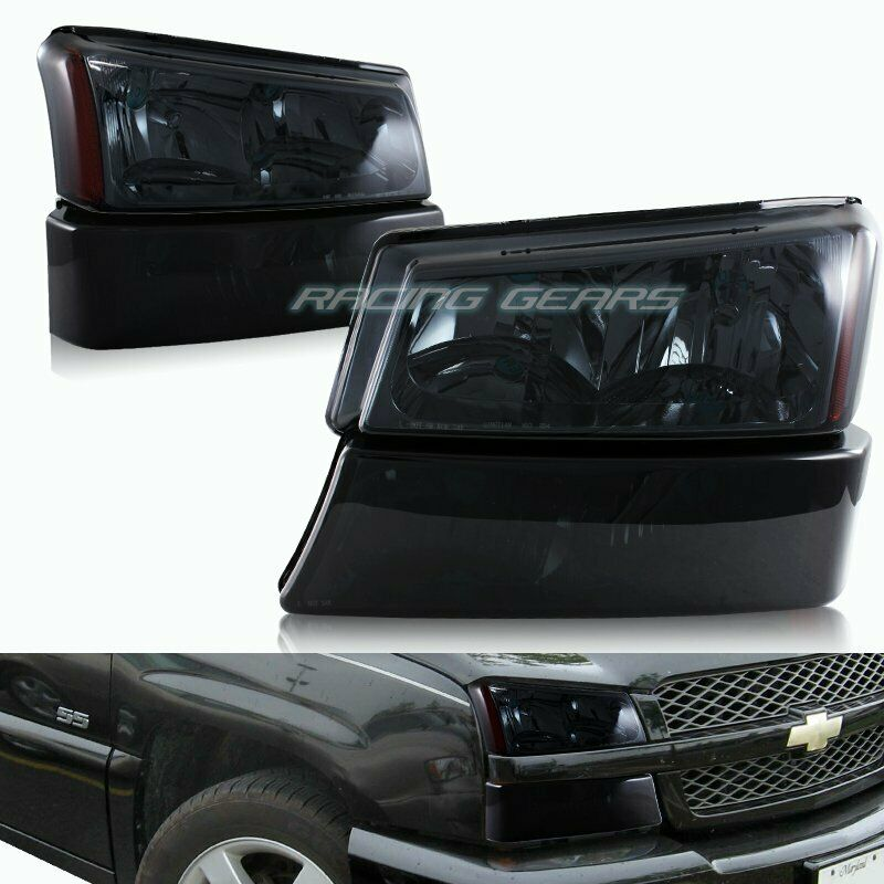 smoke headlights bumper lamps fit 03 06 chevy silverado avalanche 1500 2500 3500 ebay. Black Bedroom Furniture Sets. Home Design Ideas