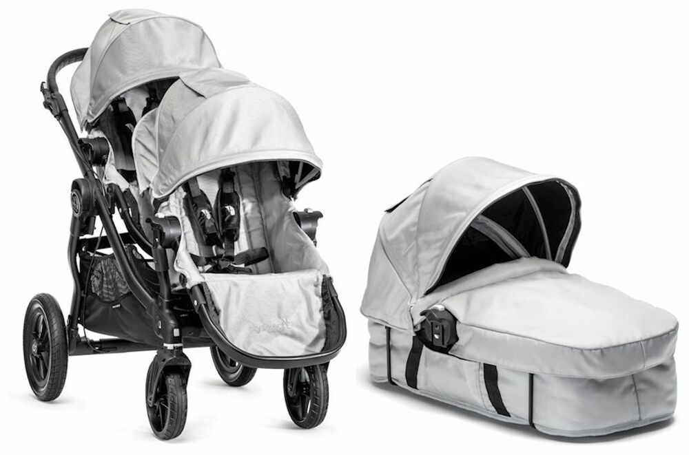 baby jogger city select twin double stroller silver w second seat and bassinet ebay. Black Bedroom Furniture Sets. Home Design Ideas