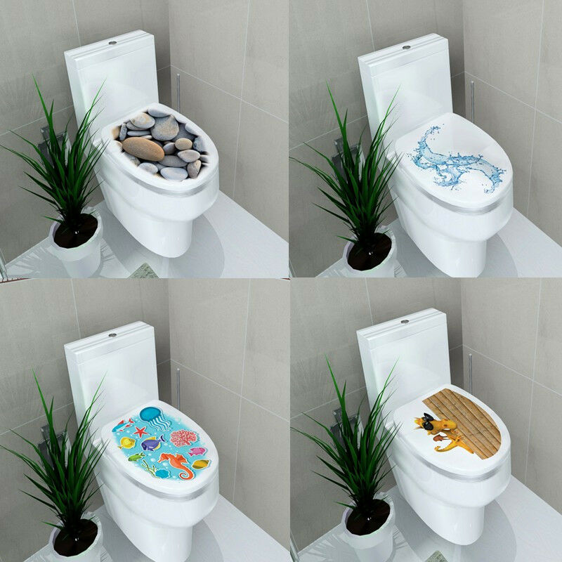 New 3d toilet seats wall stickers bathroom vinyl mural for Home decor 3d stickers