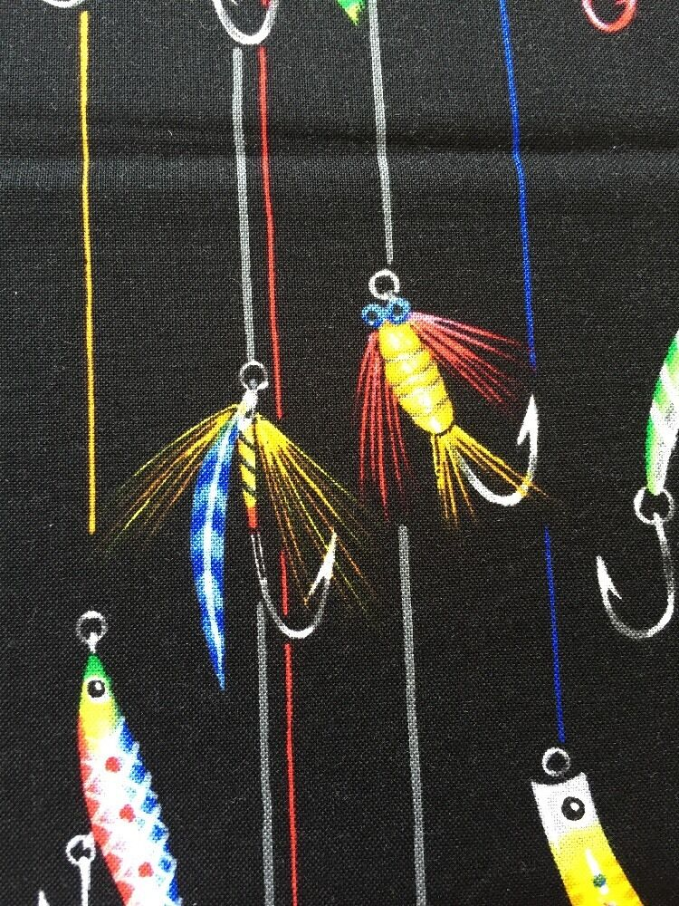 Rpe712 fly fishing lures fishing tackle bait cotton fabric for Fishing themed fabric