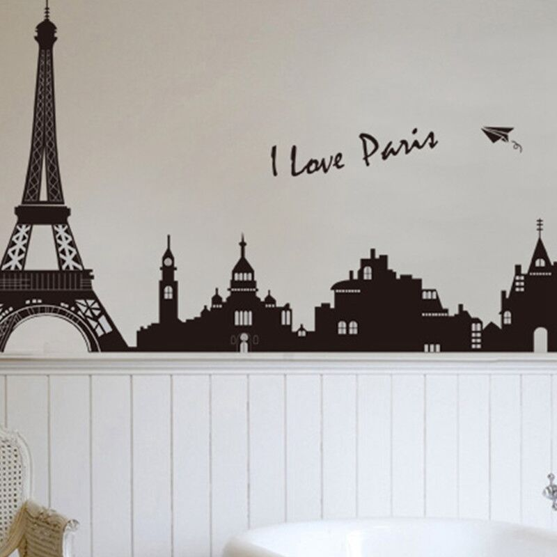 Diy paris city eiffel tower art decal mural bedroom wall for Eiffel tower wall mural black and white