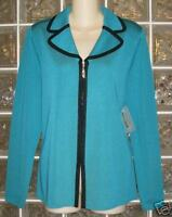 NWT EXCLUSIVELY MISOOK Turquoise blue+BLACK trim zipper Acrylic jacket petite L
