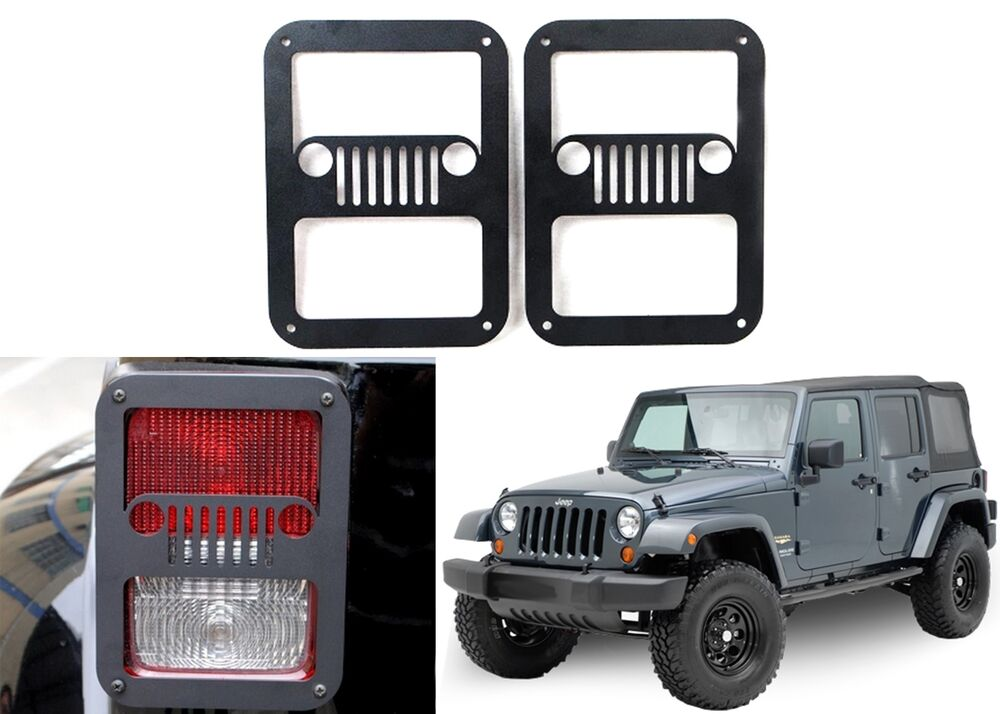 Pair Jeep Grill Tail Light Covers For 2007 2016 Jeep