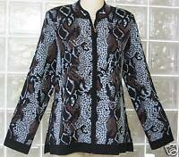 2PC set NWT EXCLUSIVELY MISOOK Black brown Acrylic Animal Print JACKET+SHELL S
