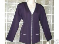 NWT EXCLUSIVELY MISOOK ZIPPER BLACK + WHITE trim JACKET/CARDIGAN Acrylic  M