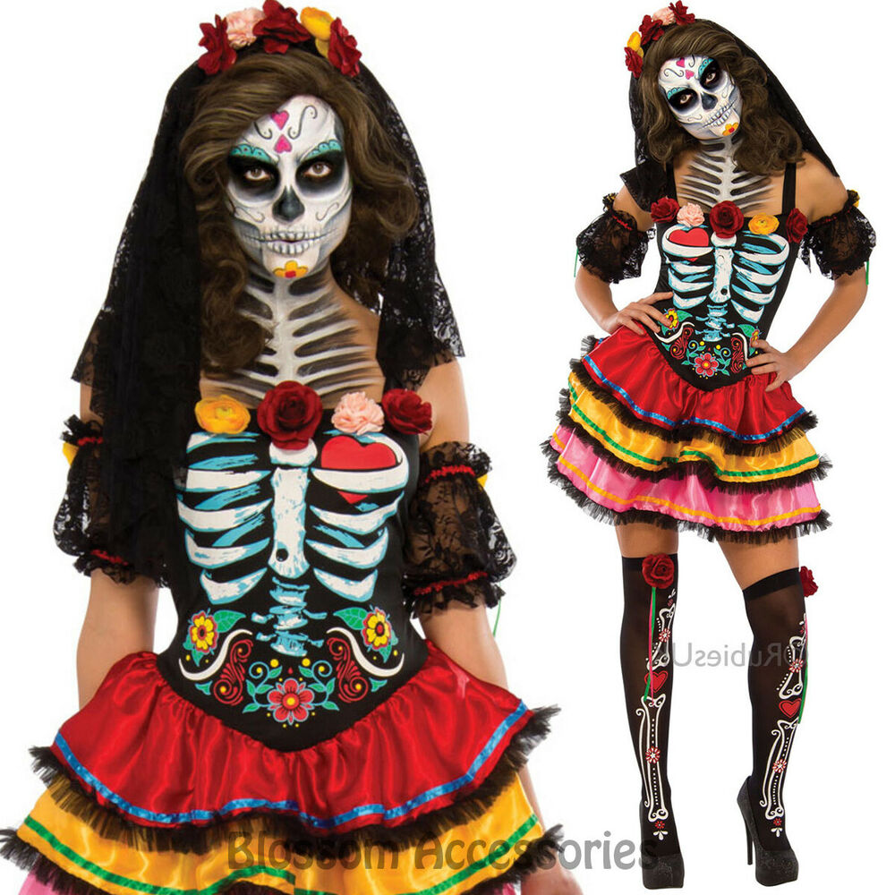 CL975 Day Of The Dead Costume Floral Dress Up Senorita ...