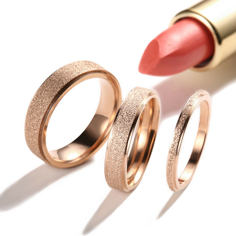 2 4 6mm rose gold frosted titanium steel wedding band ring. Black Bedroom Furniture Sets. Home Design Ideas